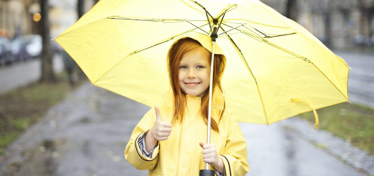 rain girl in yellow